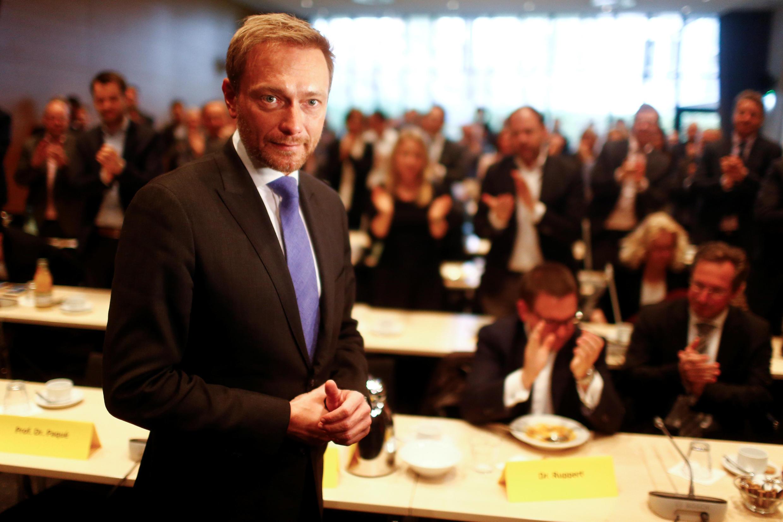 O líder liberal Christian Lindner, que rompeu com o partido de Angela Merkel