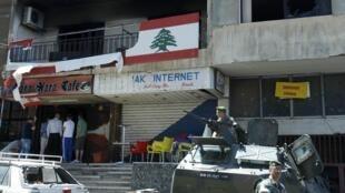 Beyrouth, le siège du Parti du courant arabe de Chaker Barjaoui, totalement incendié. Des membres de cette formation sunnite pro-Assad se sont opposés à des sunnites du Courant du Futur de Saad Hariri qui soutient les opposants syriens. Photo : 21/05/2012.
