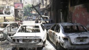 Une rue du quartier de Midane à Damas le 20 juillet 2012.