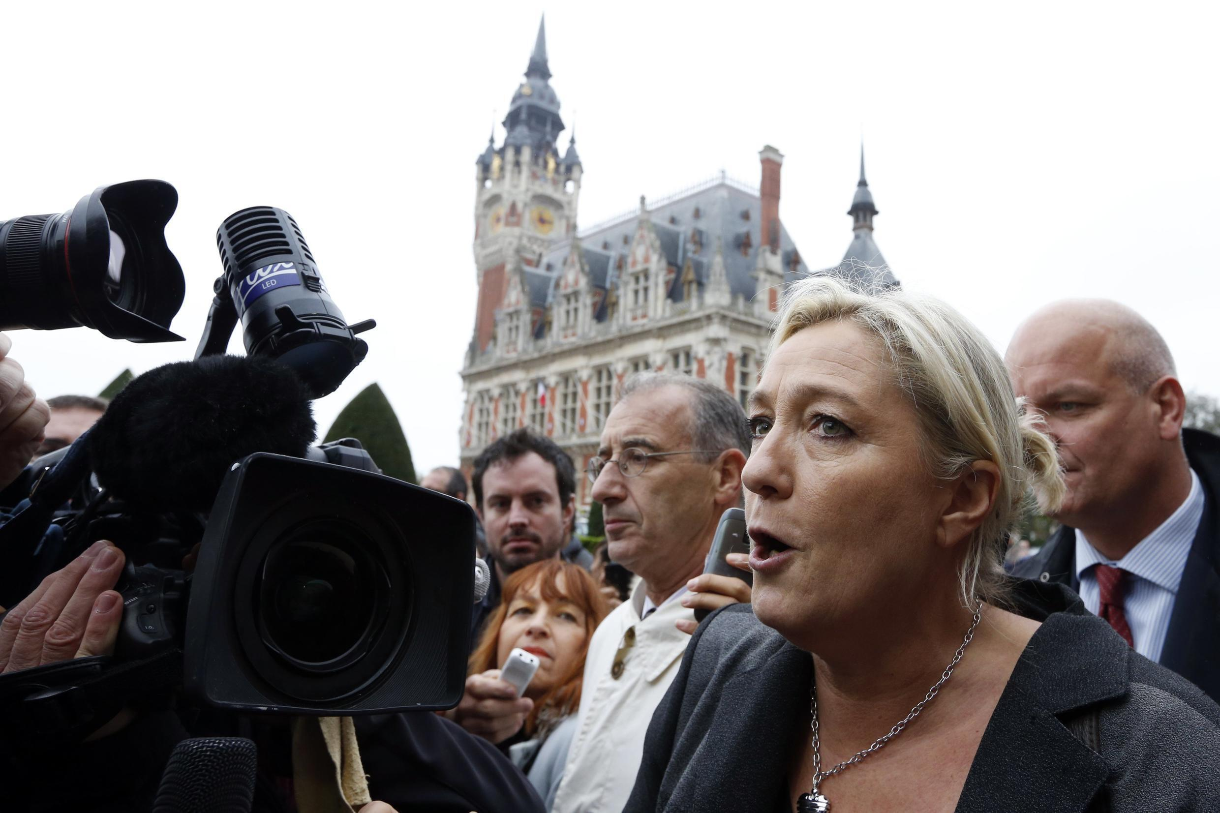 Front National leader Marine Le Pen in Calais during an earlier controversy about migration