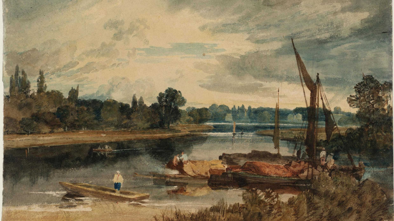 William Turner, «La Tamise près d'Isleworth: barque et péniches au premier plan», 1805, graphite et aquarelle sur papier, 25,8cm x 36,5 cm.