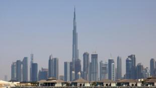 Skyline of the Gulf emirate of Dubai with Burj Khalifa in the centre
