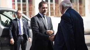 French Interior Minister Christophe Castaner greets Jean-Claude Gaudin, mayor of Marseille, before unveiling a new national plan to fight drug trafficking, called 'OFAST', September 17, 2019, Marseille
