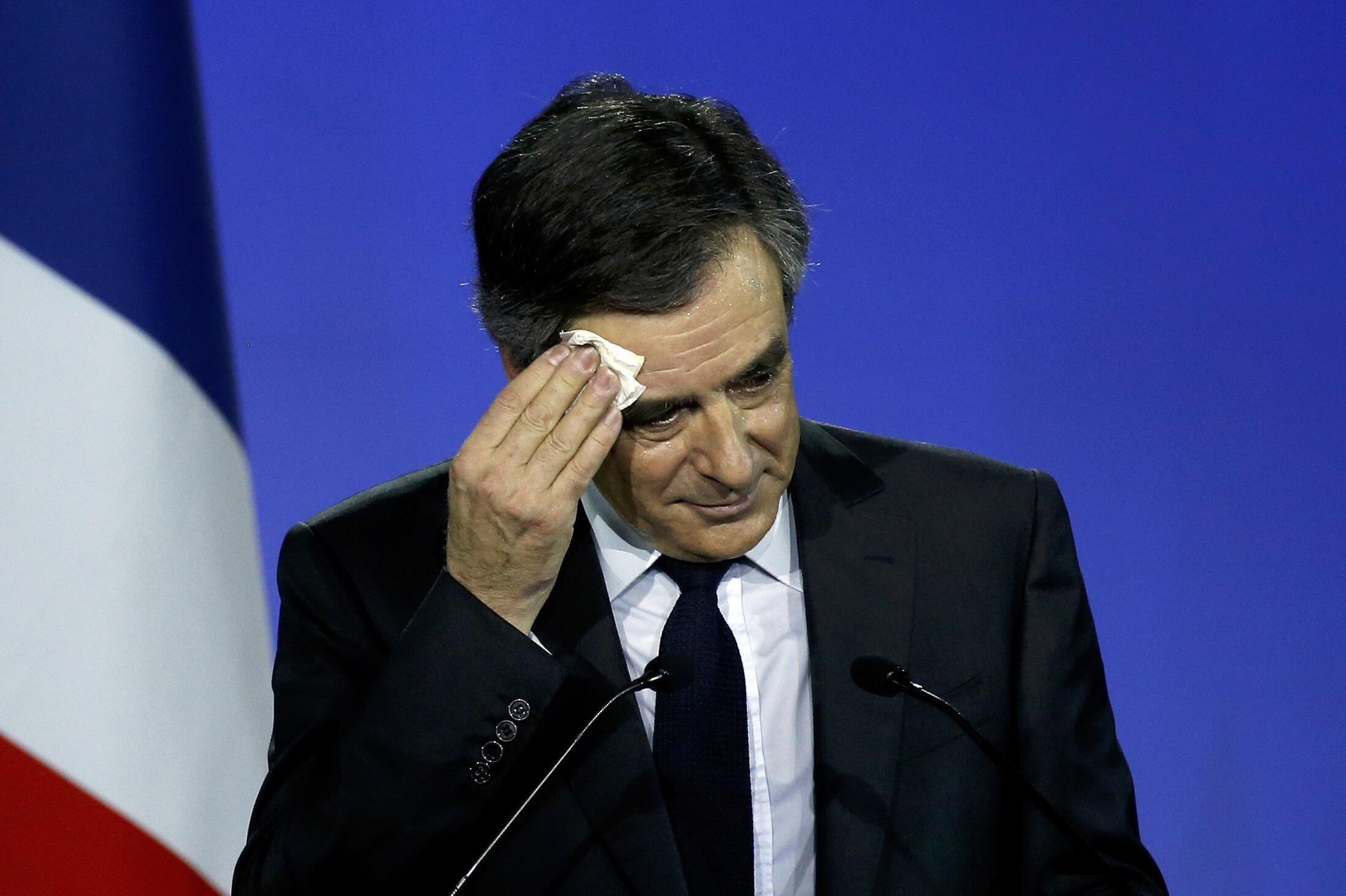 Francois Fillon former French prime minister, member of The Republicans political party and 2017 presidential candidate of the French centre-right, reacts as he attends a political rally in Paris, France, January 29, 2017.