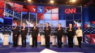 Débats sur CNN des candidats républicains lors des primaires du parti pour l'élection présidentielle de 2012 aux Etats-Unis.