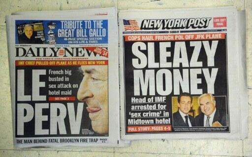 US front pages pull no punches on Strauss-Kahn