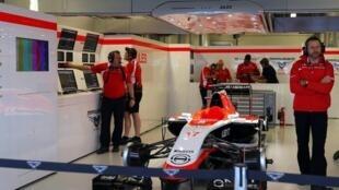 O carro do piloto francês Jules Bianchi ficou parado nos boxes da Marussia nesta sexta-feira, 10 de outubro.