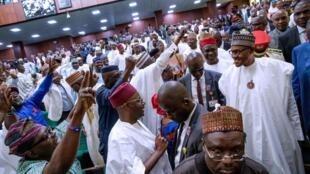 Shugaban Najeriya Muhammadu Buhari a zauren majalisun kasar kan gabatar da kasafin kudin 2019.