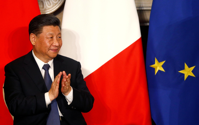 Chủ tịch Trung Quốc Tập Cận Bình tại buổi ký kết thỏa thuận với Ý tại Villa Madama, Roma, ngày 23/03/2019.
