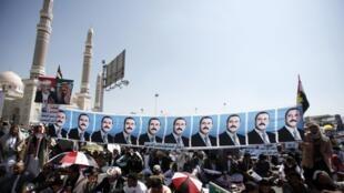 Partidários do presidente Ali Saleh realizaram hoje uma manifestação em Sanaa, capital do Iêmen.