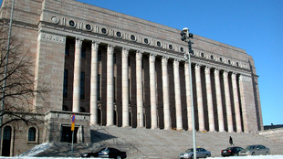 Le Parlement finlandais («Eduskunta») à Helsinki.