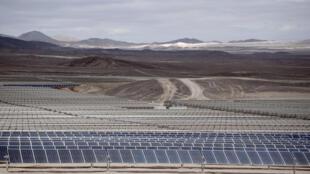 El Parque Fotovoltaico Bolero, en el desierto de Atacama, el pasado 22 de enero de 2017 durante una visita del presidente francés François Hollande.