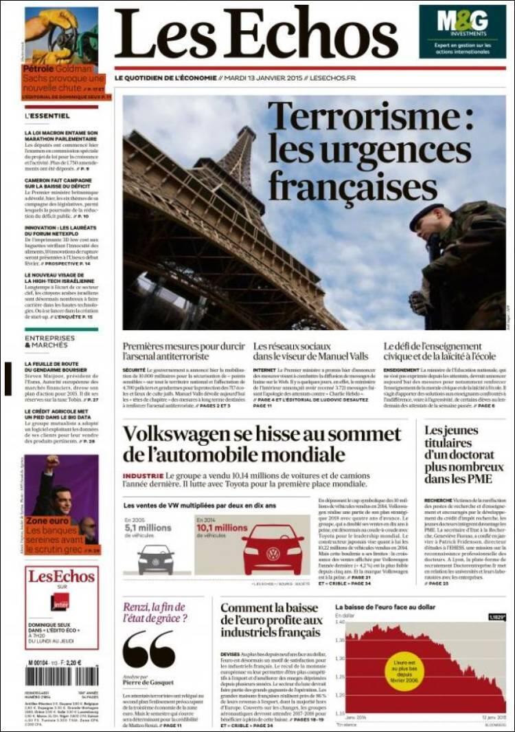 Capa do jornal francês Les Echos desta segunda-feira,19 de janeiro de 2015.