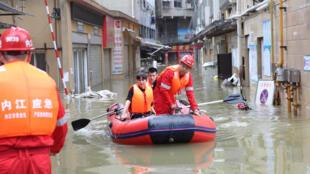 中國四川洪災 2020年8月18日照片