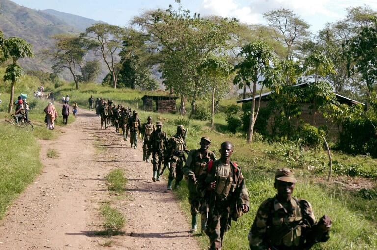 Ugandan soldiers near the border with DRC following a battle with ADF rebels in March 2007.