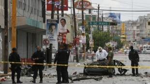 Police investigate an explosion in Juarez, Mexico
