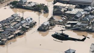 Thị trấn Mabi thuộc vùng Kurashiki, tỉnh Okayama, Nhật Bản, chìm ngập dưới mưa lũ. Ảnh chụp ngày 09/07/2018.