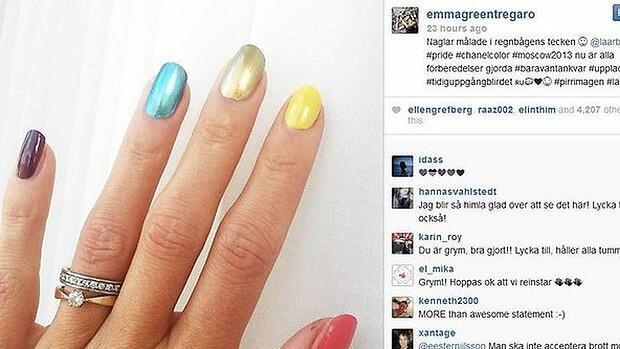 Шведская спортсменка Эмма Грин Трегаро поместила в instagram фото ногтей, раскрашенных в цвета флага ЛГБТ-сообщества