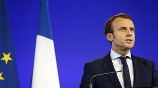 Emmanuel Macron announcing his departure from government