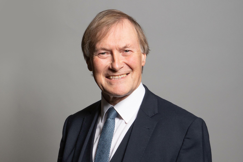 Una fotografía sin fecha, difundida por el Parlamento británico, muestra al diputado conservador por Southend West, David Amess, posando para una fotografía de retrato oficial en las Casas del Parlamento en Londres