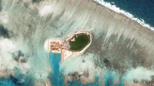 Ảnh vệ tinh cho thấy Đảo Cây (Tree Island) bị Trung Quốc kiểm soát trong quần đảo Hoàng Sa, ngày 12/10/2017.
