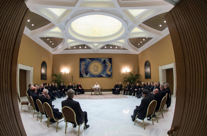 Rencontre entre le pape François et les évêques du Chili, le 15 mai 2018.