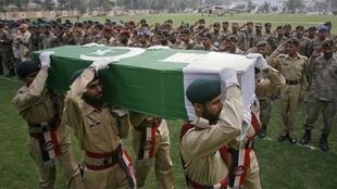 The funeral of a Frontier Corps, apparently killed by friendly fire in Khyber-Pakhtunkhawa province on Tuesday