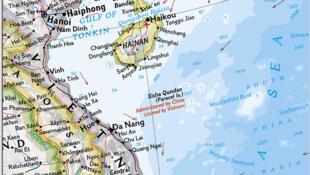 """Vị trí quần đảo Hoàng Sa trên bản đồ của tạp chí National Geographic, với tên gọi """"Tây Sa-Xisha"""" theo Trung Quốc."""