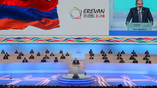 Armenian Prime Minister Nikol Pashinyan gives a speech at the opening of the 17th Francophonie summit in Yerevan on 11 October, 2018.
