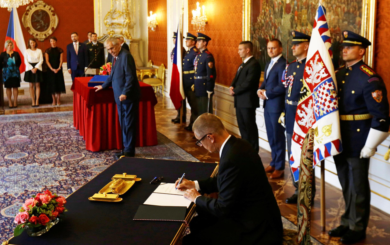 Le milliardaire Andrej Babis, dont le mouvement ANO a largement remporté les législatives d'octobre 2017, a été renommé le 6 juin Premier ministre par le président Milos Zeman. Andrej Babis, ici le 6 juin 2018.