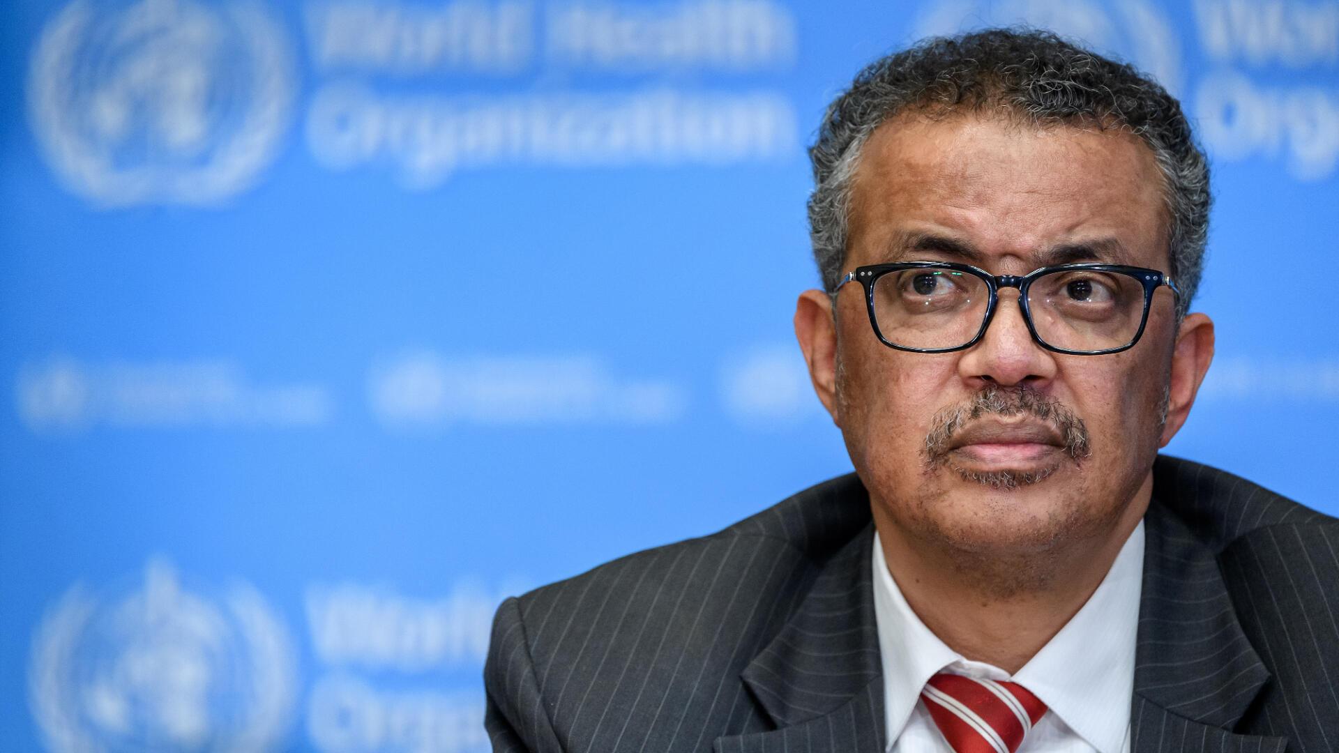 Le directeur général de l'OMS Tedros Adhanom Ghebreyesus en conférence de presse à Genève, en Suisse, le 11 mars 2020.