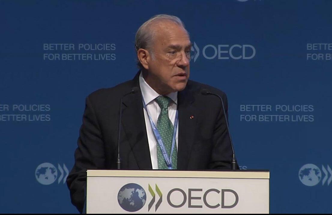 Ángel Gurría, secretário-geral da OCDE, em entrevista coletiva em Paris, nesta terça-feira. 21/09/115