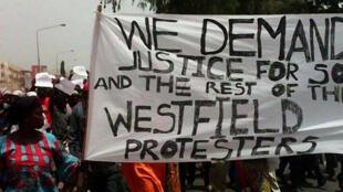 Manifestation à Banjul, le 16 avril 2016, pour protester après la mort de Solo Sandeng.