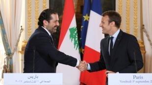 法國總統馬克龍在巴黎會晤來訪的黎巴嫩總理哈里里 2017年9月1日