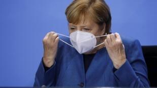 Kansela wa Ujerumani, Angela Merkel, hapa akiwa Berlin, tarehe 28 octobre 2020.