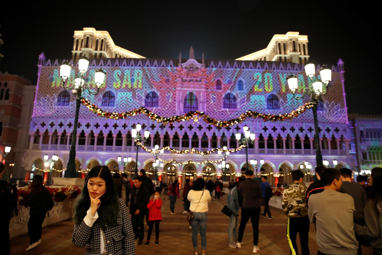 前葡萄牙殖民地澳門回歸中國20周年燈光秀2019年12月20日。