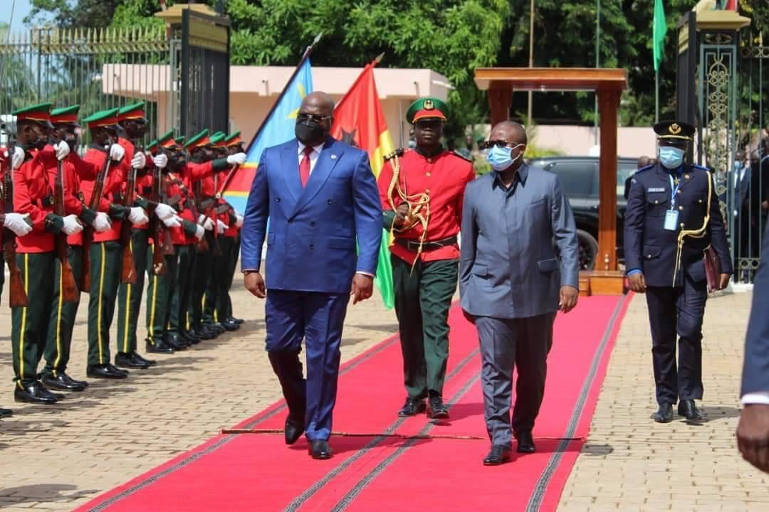 Umaro Sissiko Mbaalo, hooreejo Gine-Bissawo e yerondiraaɗo makko RDC, Feliksi Tshesekedi. Alat,18 lewru 7ɓuru 2021, Bissaawo.