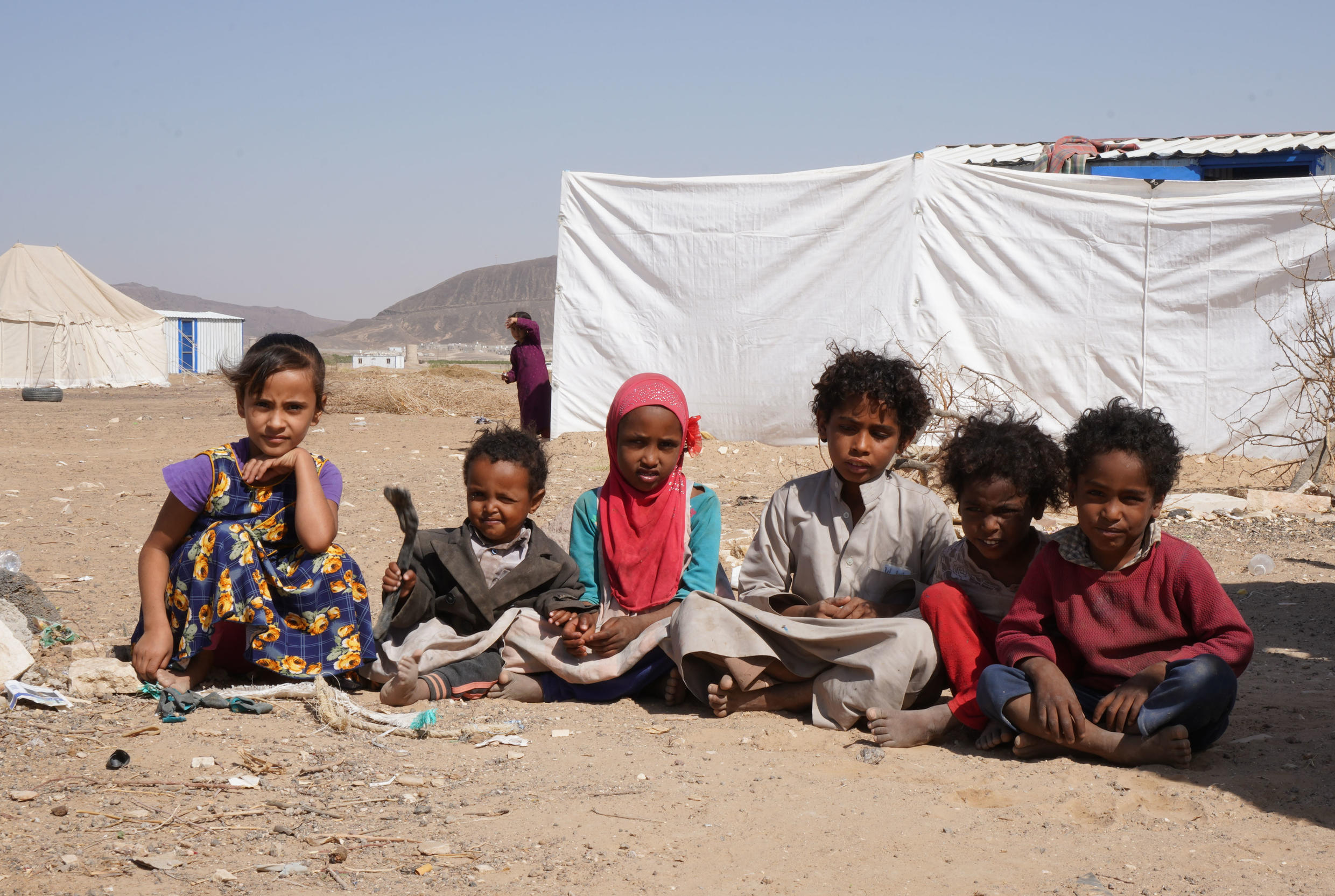 A tent in the Yemeni desert is not much of a home but as advancing Huthi rebels draw ever closer to the nearby city of Marib these children face being forced onto the road again with all of its attendant dangers