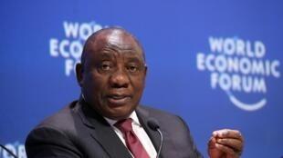 Le président sud-africain Cyril Ramaphosa au Forum économique mondial le 5 septembre 2019, au Cap.