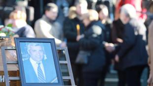 Lors des obsèques d'Oliver Ivanović, le 18 janvier 2018 à Belgrade.