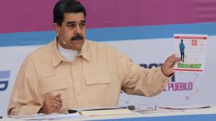 Le président du Venezuela Nicolas Maduro a annoncé la création d'une nouvelle monnaie virtuelle, le petro, le dimanche 3 décembre 2017.