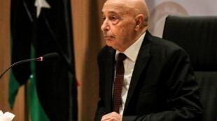Spika wa Bunge la Libya Aguila Saleh,Benghazi Aprili 13, 2019.