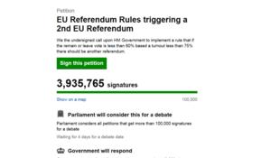 Capture d'écran du site de la pétition pour un second référendum, le 28 juin 2016.