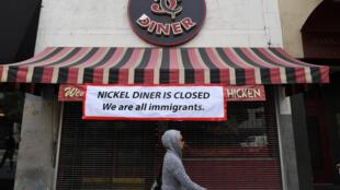"""Un restaurante de Los Angeles cerrado por el """"Día sin inmigrantes"""", el 16 de febrero de 2017."""