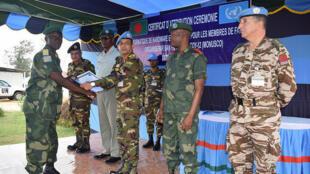 Kikosi cha bataliani ya MONUSCO wakati wa kukabidhiwa shahada huko Bunia Ituri DRC
