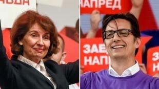 Les deux candidats qui s'affrontent pour le second tour de l'élection présidentielle : Gordana Siljanovska-Davkova et Stevo Pendarovski.