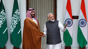 Saudi Arabia's crown prince Mohammed bin Salman with India's Prime Minister Narendra Modi ahead of their meeting in New Delhi.