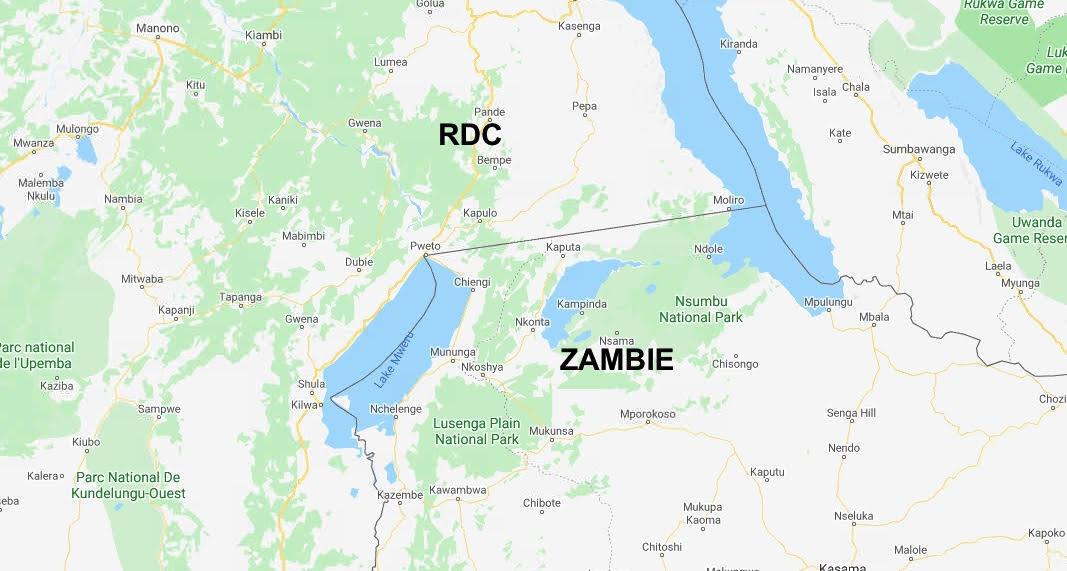 La frontière entre la République démocratique du Congo et la Zambie.