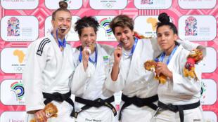 La Gabonaise Sarah Mazouz en or aux Jeux africains (2e en partant de la gauche), le 18 août 2019.