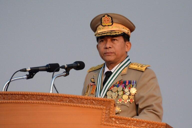 緬甸國防軍總司令敏昂萊敏昂萊資料圖片
